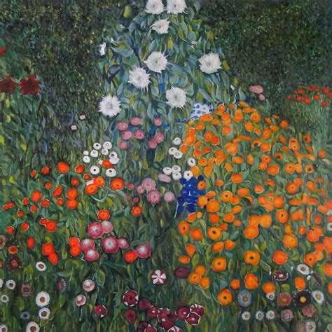 Farm Garden Flower Garden Gustav Klimt Paintings Gustav Klimt Flower Garden