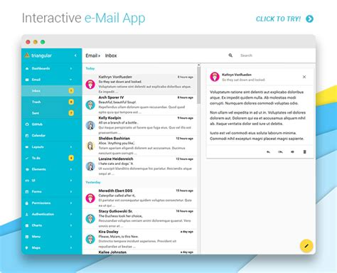 email inbox layout triangular material design admin template angularjs by