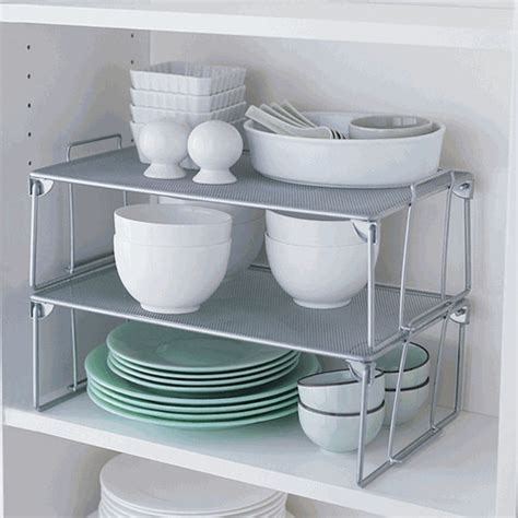 Stackable Kitchen Cabinet Organizer Folding Mesh Stacking Shelf Large Contemporary Pantry And Cabinet Organizers By Organize