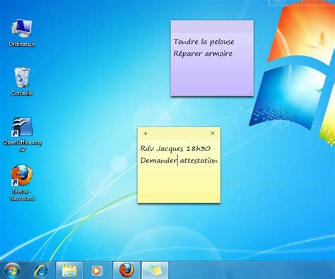 afficher le bureau windows 7 afficher des post it sur un ordinateur windows 7