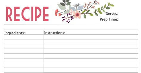 Paper Recipe - paper ink free printable floral recipe card