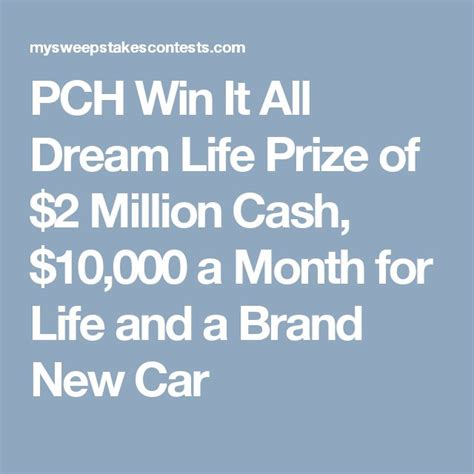 Pch Win A Million For Life - 25 best ideas about win a car sweepstakes on pinterest car sweepstakes gas gift