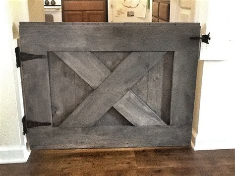custom made rustic barn door style baby gate rustic gray