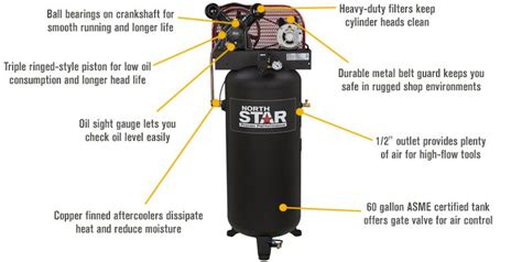 northstar electric air compressor 3 hp 60 gallon vertical tank 636084020148 ebay