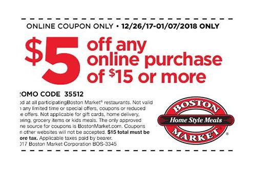 coupon for boston market restaurant