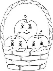 free coloring pages of basket of apples