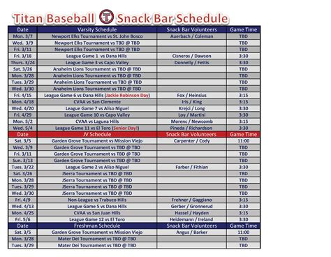 baseball schedule template free baseball snack schedule template pdf format e database org