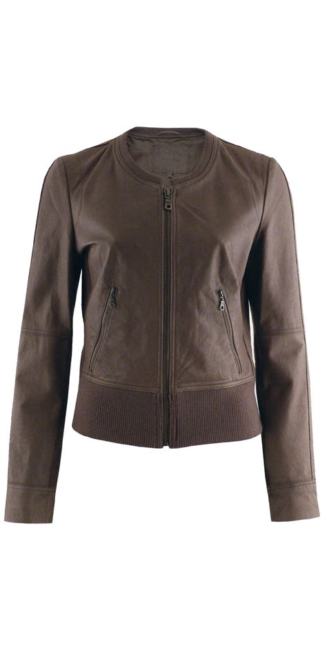 Circle Leather Jacket sandwich clothing collar leather jacket in brown