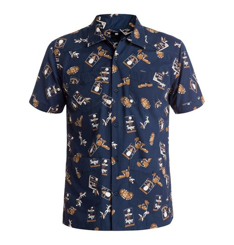 Sleeved Print Shirt guayabera print sleeve shirt edywt03089 dc shoes