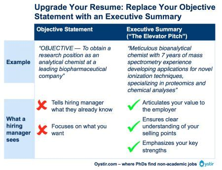 what is your career objective answer objective statement vs executive summary careers