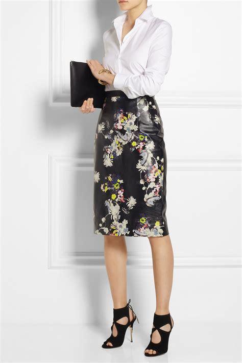 erdem aysha floral print leather pencil skirt in black lyst