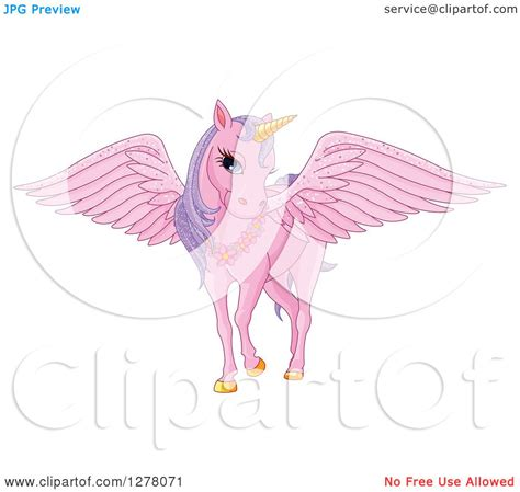 clipart of a pink fairy unicorn pegasus horse with sparkly