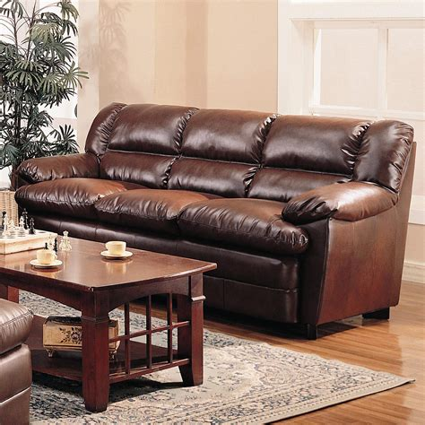 harper overstuffed leather sofa  pillow arms quality