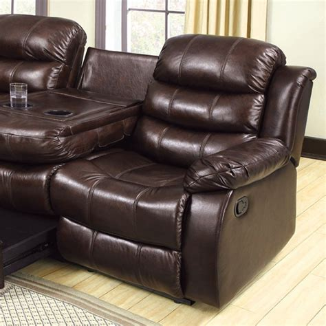 Berkshire Rustic Brown Reclining Sofa With Center Console Reclining Sofa With Center Console