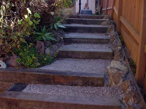 railroad ties as steps down a hill outdoor spaces and