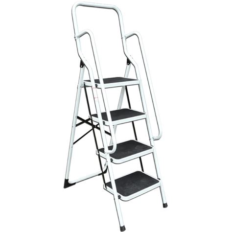 4 Platform Step Ladder With Safety Support Rails by Ladders Sale Fast Delivery Greenfingers