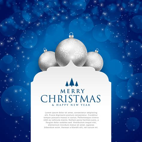 elegant blue merry christmas design  silver balls   vector art stock graphics