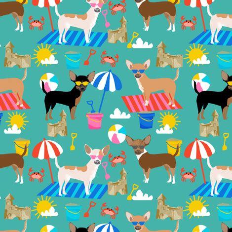 chihuahua sandcastles beach dog breed fabric pattern blue