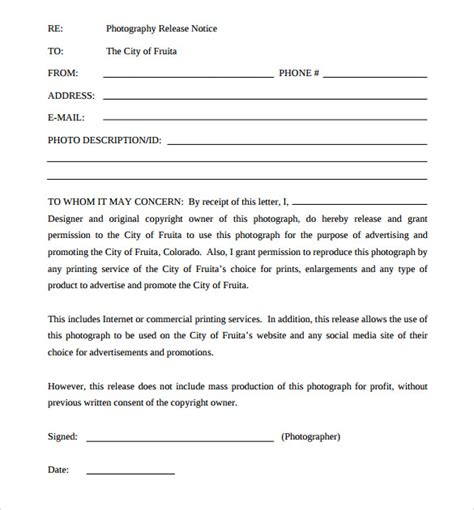 photography print release form template sle print release forms 7 free documents in pdf