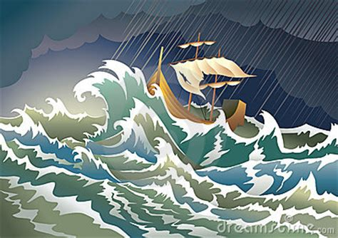 cartoon boat in storm stepping out of the boat