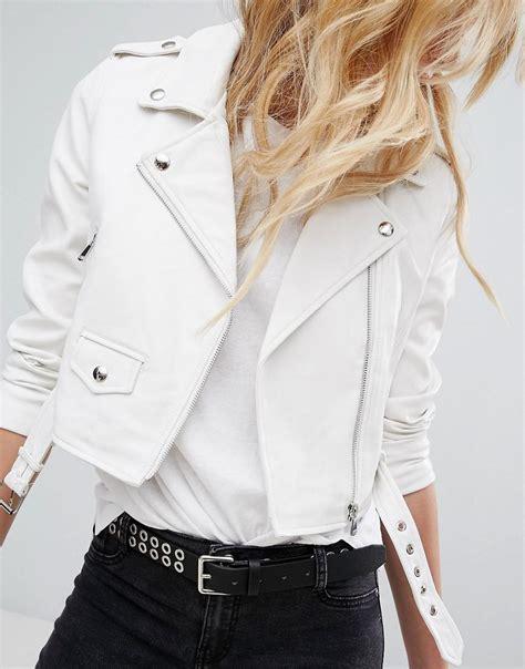 Tebal Bershka Outer Jaket Lyst Bershka Leather Look Biker Jacket In White