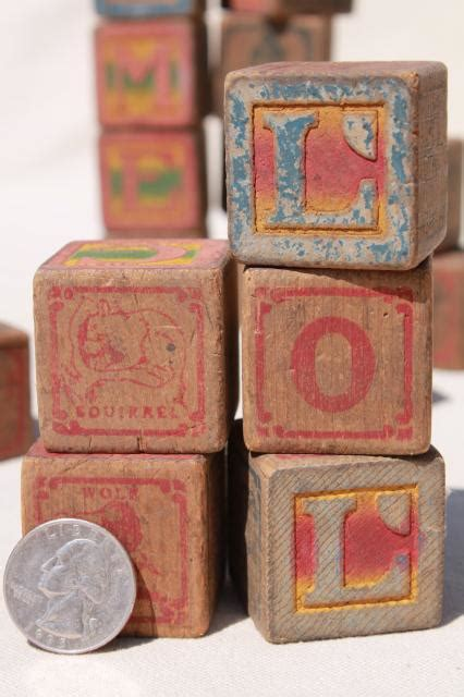 wooden letter blocks antique vintage wood alphabet blocks primitive worn 1724