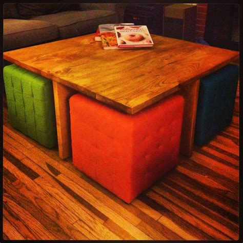 table with ottoman underneath diy square coffee table with 4 removable ottomans