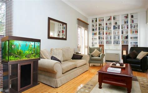 fish tank in living room thinking about your room decor before buying aquarium