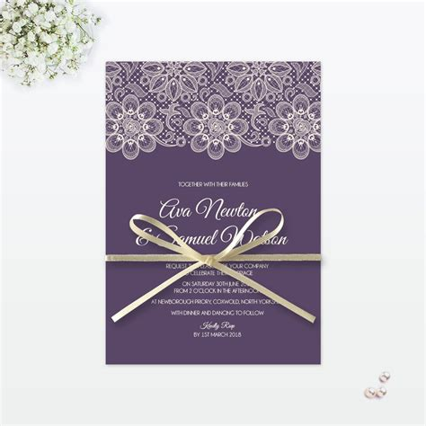 Single Card Wedding Invitations by Floral Lace Sles Invited Luxury Wedding