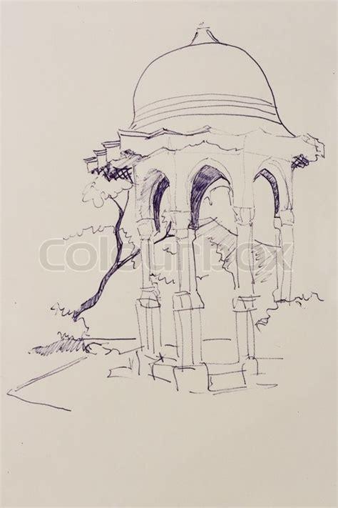 pavillon zeichnen stift architektonische skizze zeichnen t 252 rkischen pavillon
