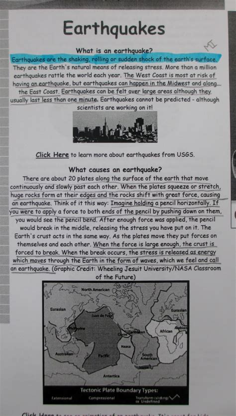 earthquake report text investigating nonfiction part 2 digging deeper with close