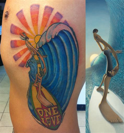 surfboard tattoo designs tattooed fans alders surf figurative and