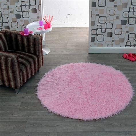 teppich rund rosa hochflor kunstfell teppich cosy rund in rosa 102214 ebay
