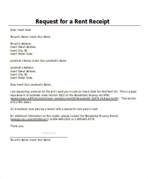 receipt template for rent rent receipt word sle 6 exles in word pdf