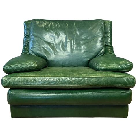 Vintage Green Leather Chair by Vintage Roche Bobois Green Leather Lounge Chair At 1stdibs