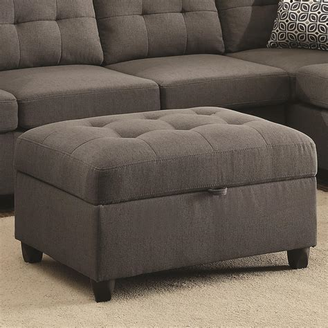 Ottoman Picture by Coaster Stonenesse Grey Storage Ottoman With Button