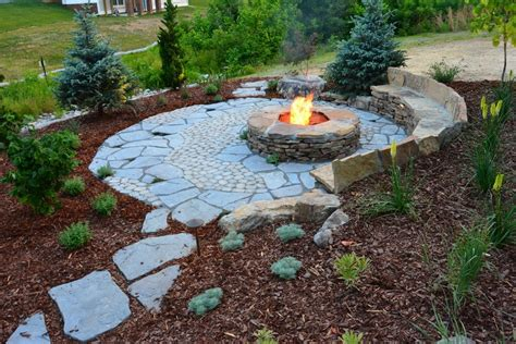 stacked stone bench boulder fire pit landscape rustic with stone bench