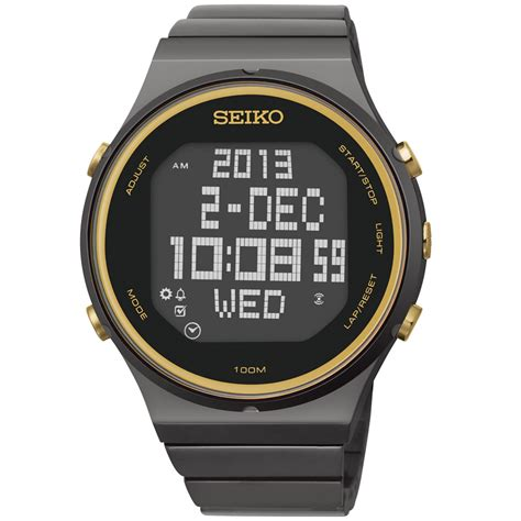 seiko mens digital matrix black ionfinished stainless