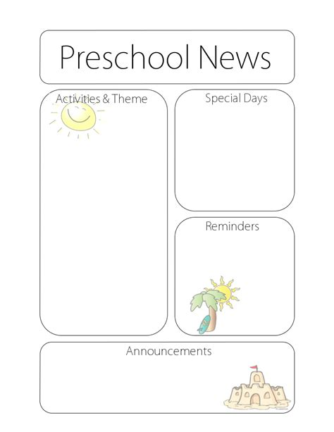 preschool newsletters templates search results for newsletter template