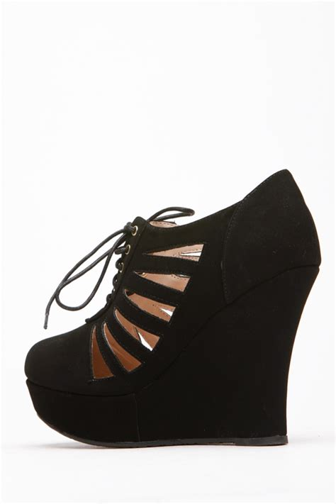 New Stok Wedges T 1 3 8 Bagus bamboo toe cut out lace up black wedge cicihot