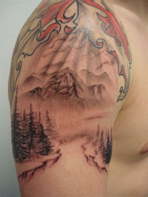 mountain scene tattoo designs mountain