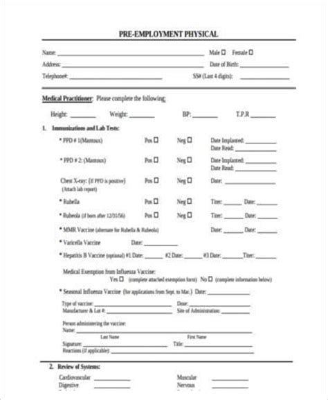 Sle Work Physical Forms 8 Free Documents In Word Pdf Physical Form For Work Template