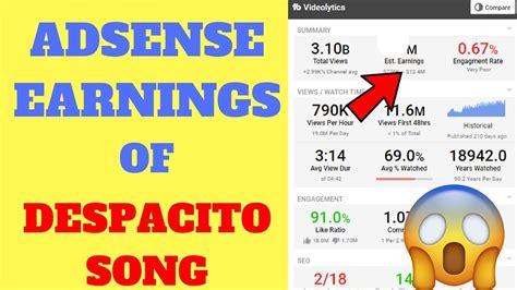 despacito youtube earnings adsense earnings of worlds trending video 2017 despacito