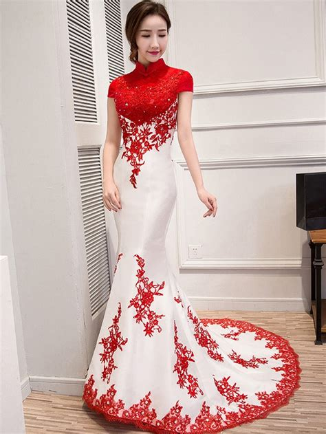 Wedding Qipao by Custom Tailored Colorblock Qipao Cheongsam Wedding Dress