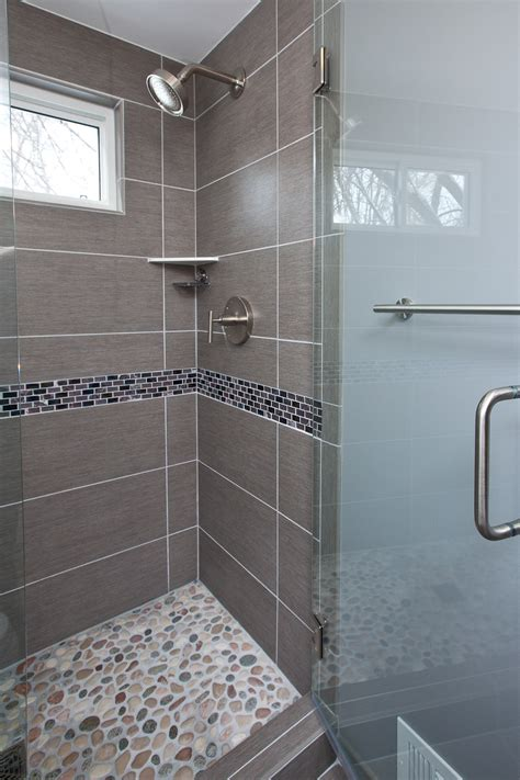Bathroom Tile Glaze Grey Porcelain Tile Was Chosen For The Floor Shower Walls And Wall The Vanity A Unique