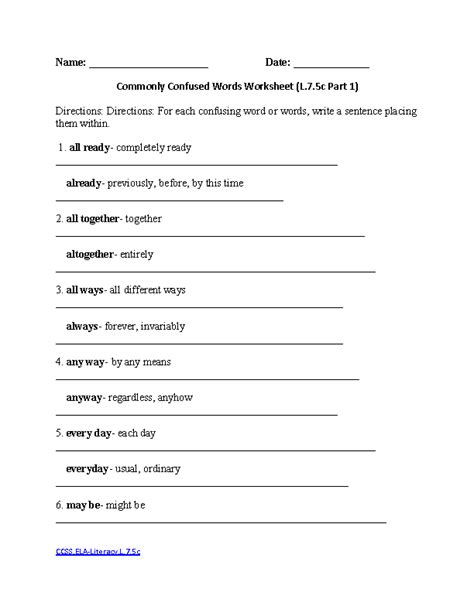 Commonly Misspelled Words Worksheet by Worksheets Commonly Misspelled Words Worksheet