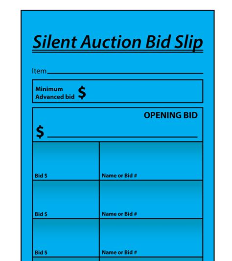 bid auction buy auction bid slips