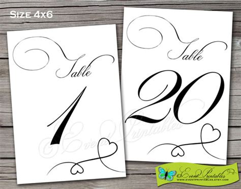 wedding table number printable 4x6 instant by 1 to 20 printable diy table numbers instant by eventprintables