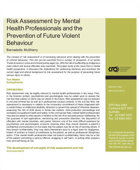 risk assessment template mental health choice image