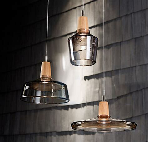 Modern Clear Glass And Wood Cap Pendant Lighting Contemporary Glass Pendant Lights